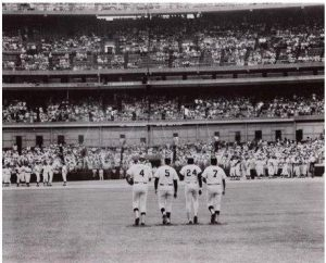 Snider, DiMaggio, Mays and Mantle walking in from centerfield on July 16,1977, at Shea Stadium on Old-Timers Day