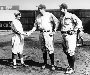 Jackie Mitchell Shakes Hands with Babe Ruth