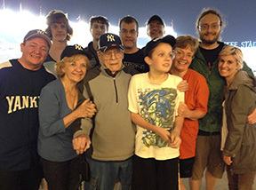 Roy Tietze celebrates his 90th birthday at a Yankee game