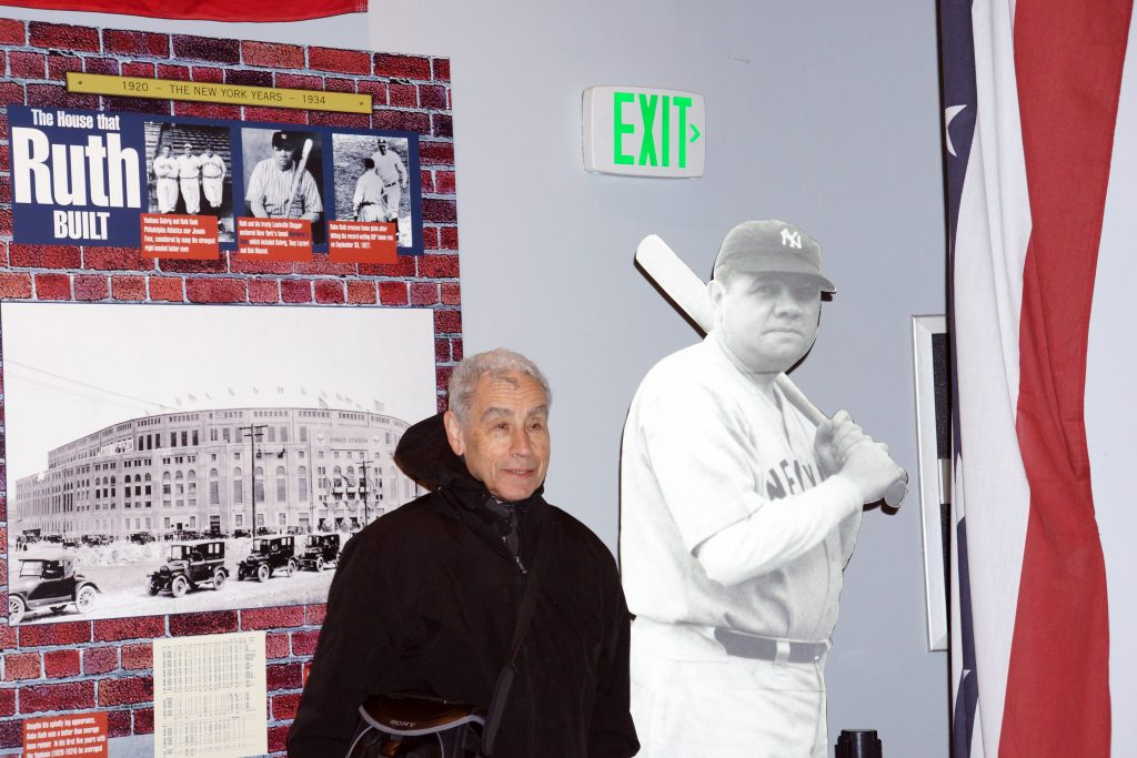 Dr. Stanley Rothman, aka Dr. Stan the Stats Man with a Babe Ruth cutout.
